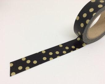 Washi Tape - spotted pattern, black (10M) P61