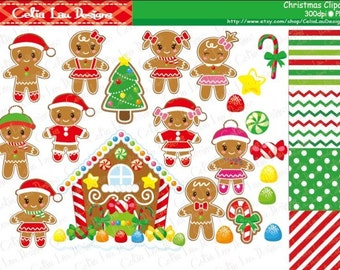 Gingerbread Digital Clipart, Christmas Clipart, Ginger bread Clip art, Christmas Candy House Clip art , Gingerbread House clipart (CG096)