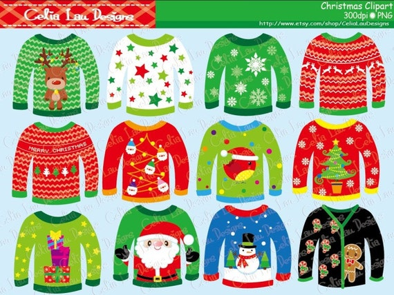 Ugly Christmas Sweaters Clipart for Personal and Commercial