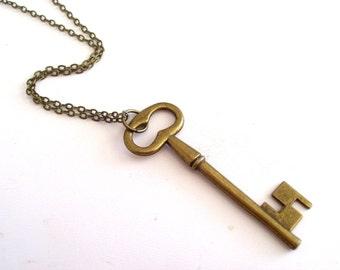Brass Key Necklace, Layering Necklace, Brass Key Pendant, Antiqued Brass Plated Skeleton Key Pendant Necklace, Antiqued Brass Plated Chain
