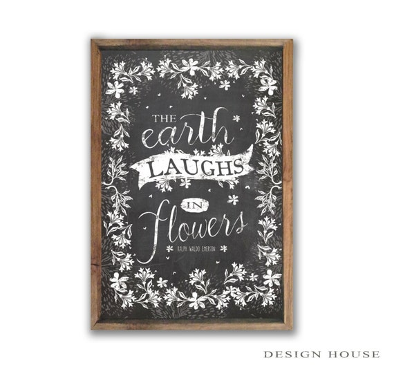 The Earth Laughs In Flowers Sign Spring Decor Spring Signs