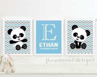 Baby Boy Nursery Art - Boy Nursery Decor - Boy Nursery Print - Panda Bear Nursery Art - Panda Bear Art - Panda Bear Print Decor (NS-687)