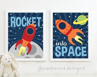 Baby Boy Nursery Art - Astronaut Nursery Art - Astronaut Art - Astronaut Bedroom Art - Astronaut Bedroom Decor - Rocket Nursery (NS-586)