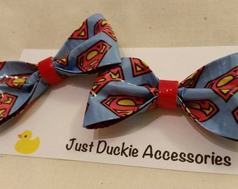 Superman duct tape Hair Bow, bobby pin pair