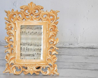 ORNATE PICTURE FRAME 4 x 6 Arles Orange Peach French Distressed Cottage Chic Hand Painted Annie Sloan Chalk Paint