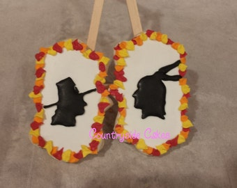 Pilgrim and Indian Thanksgiving Decorated Sugar Cookies  -1 dozen