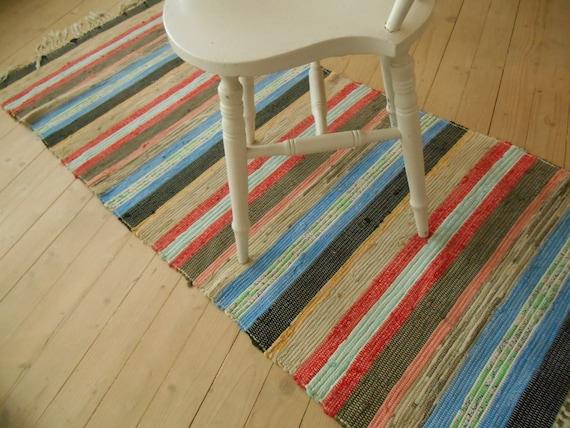 schwedische vintage rag teppich gewebt teppich gestreiften. Black Bedroom Furniture Sets. Home Design Ideas