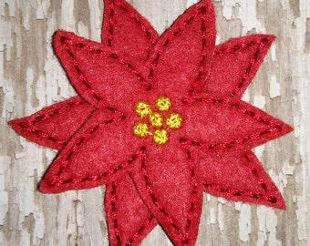 Set of 4 Christmas Poinsettia Poinsetta Flower 2 Layer Hairbow Feltie Felt Embellishment Bow! Birthday Party