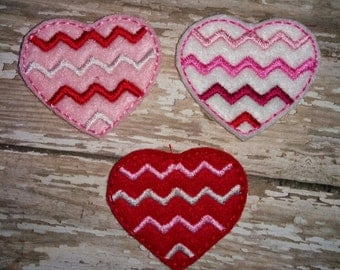 Set of 4 Chevron Heart Valentines Valentine Day Feltie Felt Embellishment Bow! Birthday Party