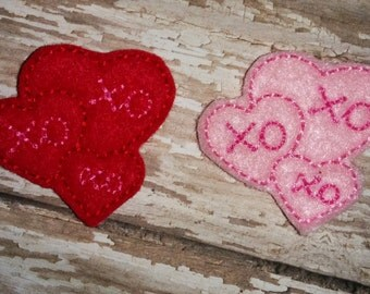 Set of 4 Triple XO Hugs and Kisses Heart Valentines Valentine Day Feltie Felt Embellishment Bow! Birthday Party