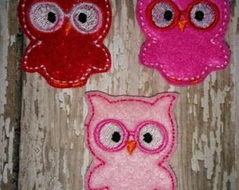 Set of 4 Geeky Geek Owl Glasses Red Pink Valentines Valentine Valentine's Day Feltie Felt Embellishment Bow! Birthday Party