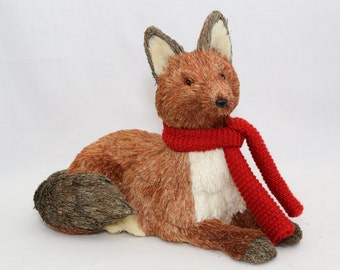 Natural Sitting Fox with Red Scarf