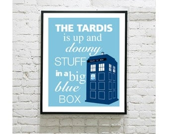 """Doctor Who Digital Art Print - TARDIS - Up and Downy Stuff in a Big Blue Box - Quote - The Doctor - Matt Smith - David Tennant -8""""x10"""" Print"""