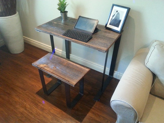 Old Barn Wood Desk with stool combo by ArtistandCarpenter on Etsy