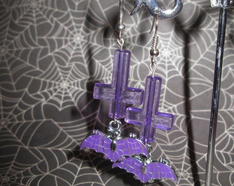 Bats and Inverted Cross Earrings (Purple)