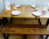 Beautiful handmade reclaimed wood and steel dining table available with benches stools or combination of both