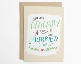 Funny Wedding Card, Officially My Favourite Married Couple, Card for Couple, Congratulations Card, Anniversary Card, Love Card/C-231