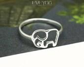 Sterling Silver Elephant Ring, Elephant stud Earrings