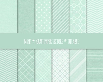 Mint Digital Paper ~ Geometric Seamless Patterns ~  Kraft Paper Texture Tileable ~ Cardboard Texture Background ~ Dots, Stripes, Chevron