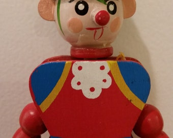 """VINTAGE! 8"""" Wooden pull toy puppet/ornament c.1950's"""