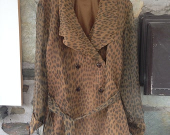 Leopard Double Breasted Light Trench Coat- amazing vintage condition! See through sleeves