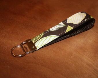 Brown and green leaf fabric keychain/keyfob/wristlet