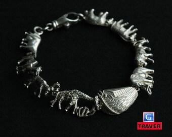 Sterling Silver Noah's Ark Bracelet Marked SMS 925 Length 7.2''