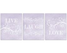 Home Decor Wall Art, Live Laugh Love Art, Bathroom Wall Decor, Lavender Bedroom Wall Art, Lavender Art Prints - HOME113