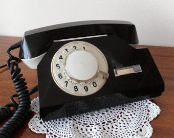 Phone Black phone rotary dial phone Black rotary telephone Bakelite black phone worker retro gadget Mechanism scenery theatrical Vintage