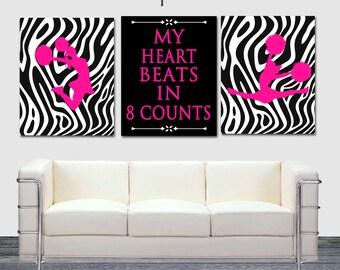 My Heart beats in 8 Counts, Cheerleading Set of 3, Hot Pink, Cheerleader Wall Art, 8x10, 16x20, Cheer art print, Girls Room, Zebra decor