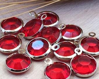 Glass Pendant, Glass Circle Pendant, Bezel Pendant, Glass Charm, Birthstone Pendant, Dangle, Silver Plated, Bright Red, LARGER Size