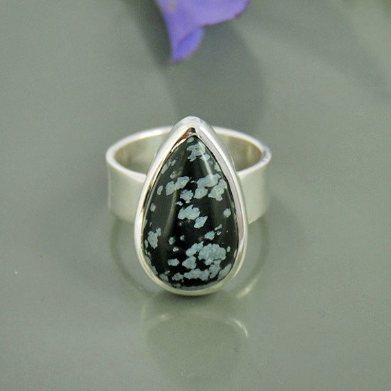 Snowflake Obsidian Gemstone Ring Solid 925 by Silvergem2014