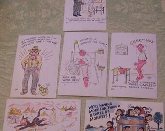 Six vintage comic humor humorous postcards Elmer Anderson