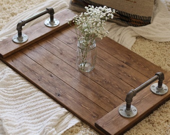 Rustic Industrial Tray, Wooden Tray, Ottoman Tray, Coffee Table Tray, Industrial Tray, Rustic Tray, Gifts for Him, Industrial Decor