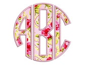 3 Letter Circle Applique Monogram Machine Embroidery Large Font -Instant Download-3,4,5 inch