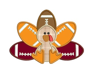 Football Turkey Thanksgiving Applique Machine Embroidery Digitized Design Pattern  - Instant Download