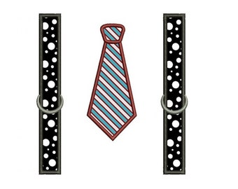 Tie with suspenders Applique Machine Embroidery Digitized Design Pattern - Instant Download- 4x4 , 5x7, 6x10