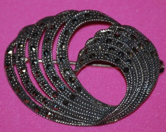 Vintage Sterling Silver Marcasite Brooch Pin