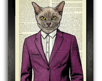 Very Dapper Cat in Burgundy Suit, Cat Art Print, DICTIONARY Page Print, Gift for Boyfriend, Funny Office Decor, Bedroom Wall Art, Home Decor