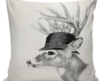 Deer Buck with Bowler Hat Cushion Pillow Cover cotton canvas throw pillow 18 inch square #UE0142 Urban Elliott