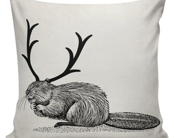 Beaver with Antlers Cushion Pillow Cover cotton canvas throw pillow 18 inch square UE-148 Urban Elliott