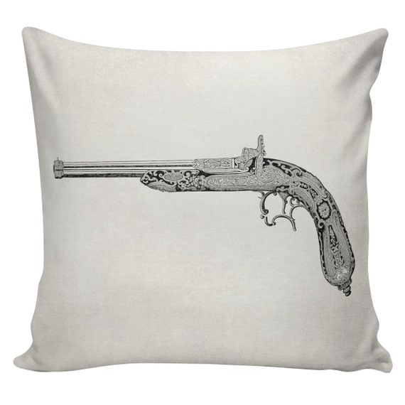 Items similar to Gun Cushion Pillow Cover Gun Revolver cotton canvas throw pillow 18 inch square ...