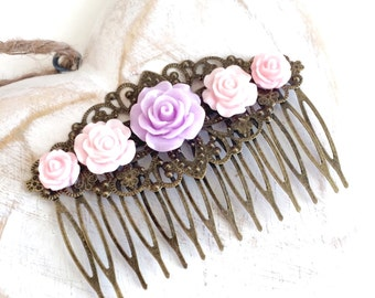 Pastel Pinks Floral Hair Comb