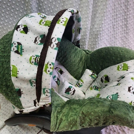 owls minky infant car seat replacement cover green. Black Bedroom Furniture Sets. Home Design Ideas