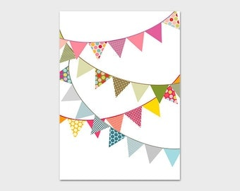 Bunting Printable, 5x7, Instant Download Bunting Art Print Nursery Bunting Wall Art Nursery Flag Printable Banner Wall Art Colorful Nursery