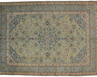 Vintage Persian Esfahan hand knotted wool area rug