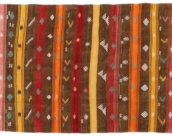 Kilim. Turkish hand woven wool vintage Kilim