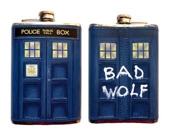 Genuine Leather Doctor Who Bad Wolf TARDIS Flask