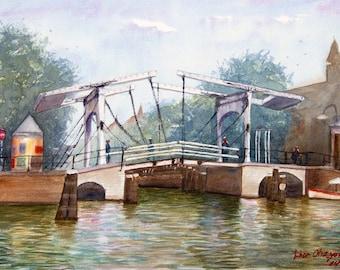 Skinny Bridge-Original watercolor painting art Holland Amsterdam landscape art 11x15 inch PRINT .By Lior Ohayon
