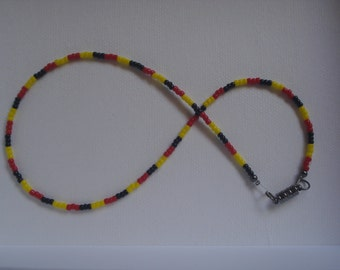 Single Strand Beaded Necklace - Australian Aboriginal Colours - Indigenous Single Strand Necklace - Red Yellow and Black Beaded Necklace